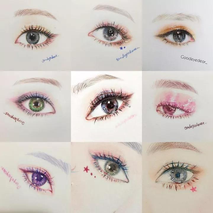 超有神的眼睛彩铅绘画美图分享