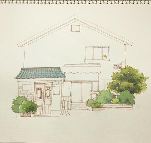 简单的钢笔淡彩建筑画绘画教程