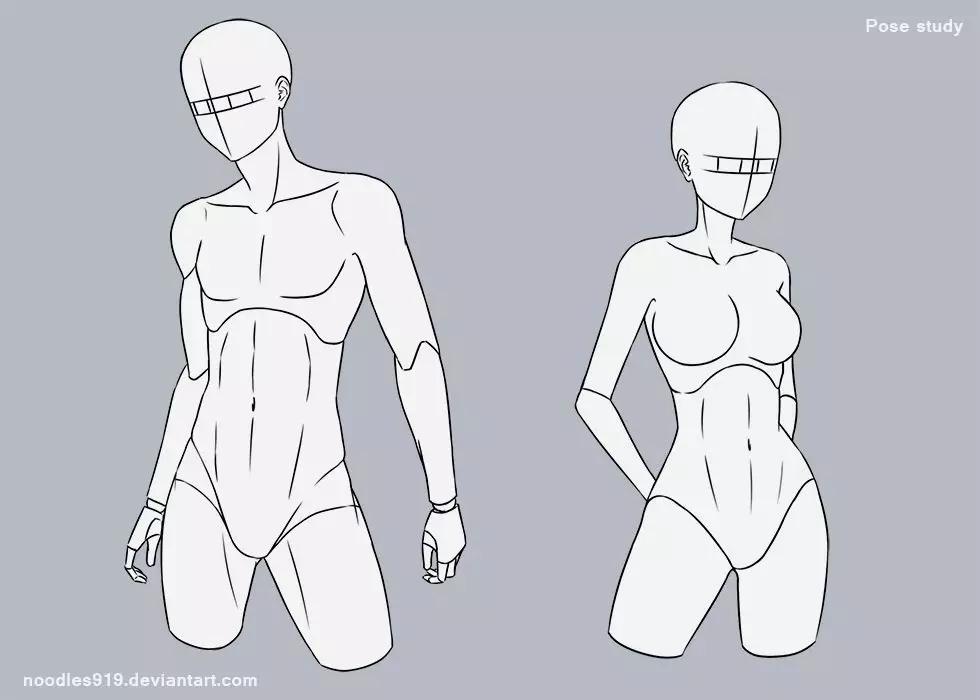 今天分享一组动态速写素材 各个角度的女性站姿参考 直立,叉腰,侧身