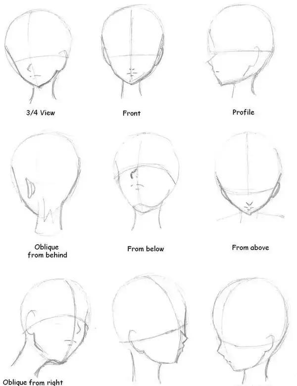 日漫人物其他各种角度的脸型比例画法图图片
