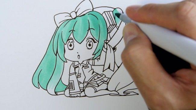 超可爱的q版初音动漫手绘马克笔上色