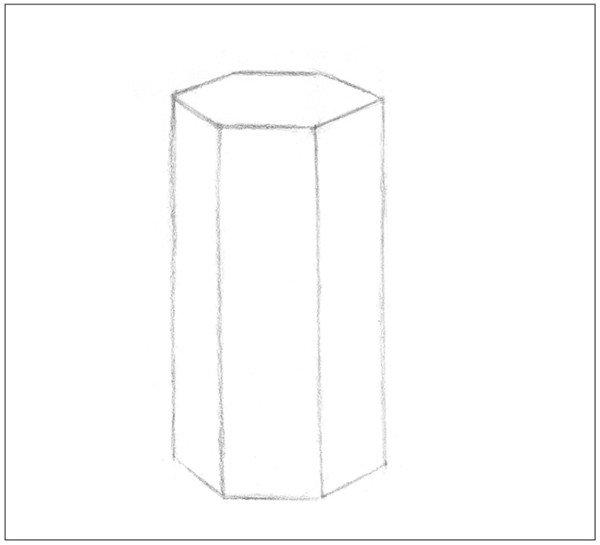 素描六棱柱的画法教程