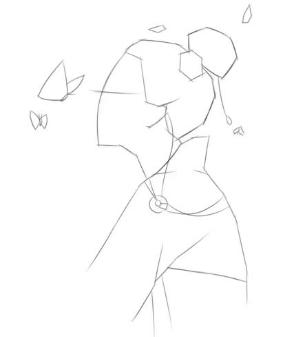 素描画古风美人步骤:   步骤一:根据我们之前画的小图,用简单的